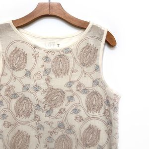 LOFT embroidered tank top NWT